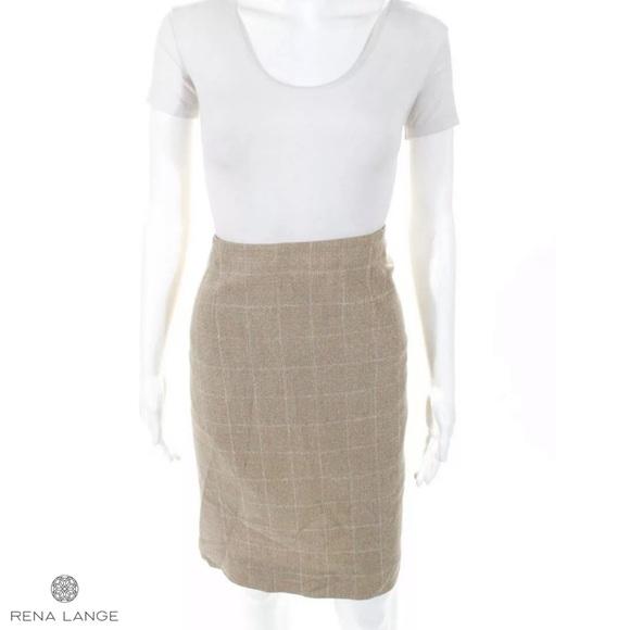 Rena Lange Dresses & Skirts - RENA LANGE Beige/Wht Square Wool Blend Pencil